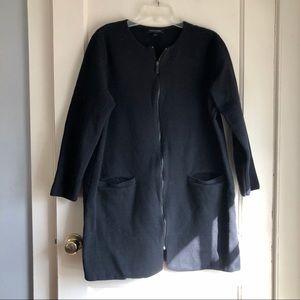 Banana Republic Factory Black Long Zip Up Sweater